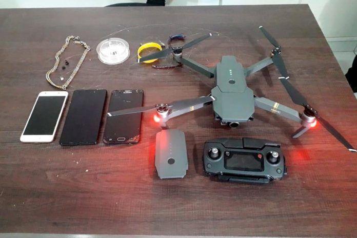 Este já é o quinto drone apreendido este ano pelos agentes penitenciários da Mata Grande - Foto por: Assessoria SESP/MT