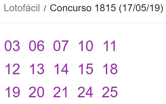Resultado da Lotofácil, concurso 1815 desta sexta, 17 de maio