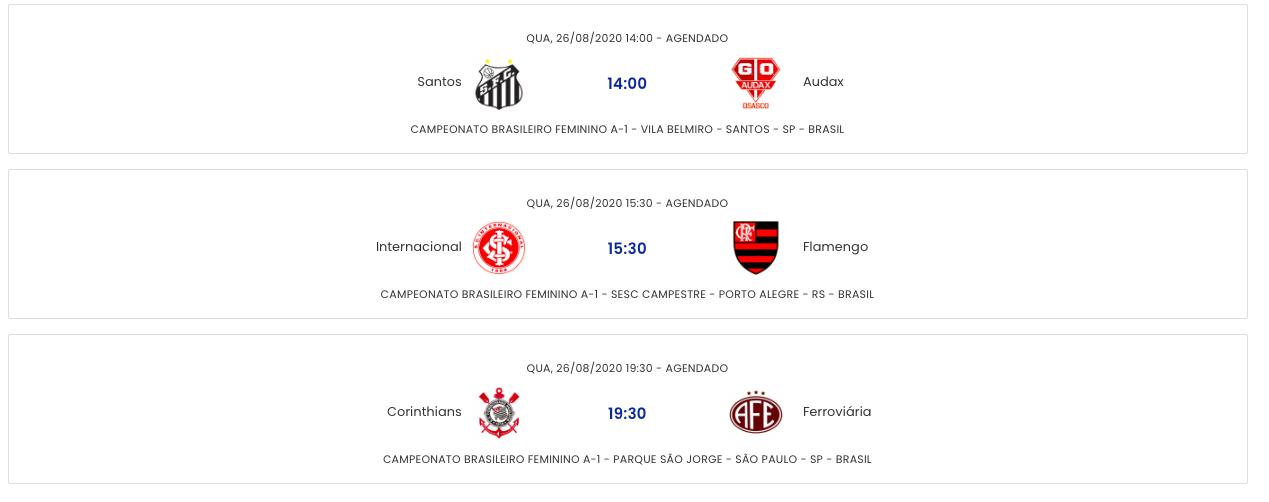 Jogos De Hoje Quais Os Jogos Desta Quarta Feira 26 08 2020 Pelo Brasileirao Feminino A 1 Cenariomt